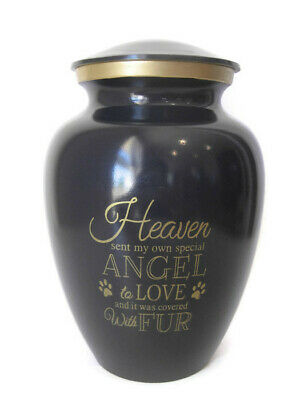 My Fur Angel Large Full Sized Cremation Memorial Ashes Brass Pet Dog Cat Urn