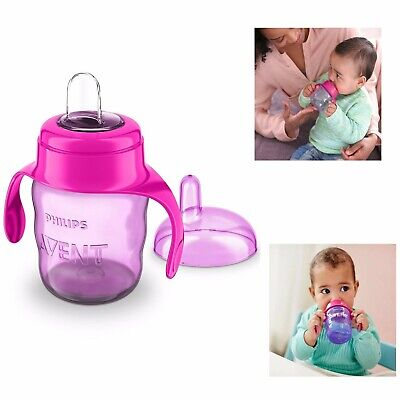 Spout Cup with Handle Pink Watter Bottle 200ml Soft Silicone Sippy Cup Avent