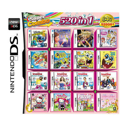 520 in 1 Game Cartridge for NDS NDSL 2DS 3DS NDSI Video Game Naruto All System