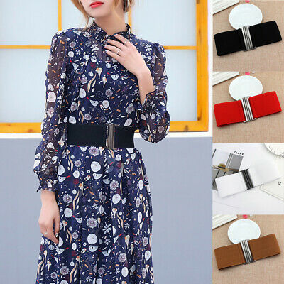 Wide Waist Belt Elastic Waistband Stretch Women Dress Metal Buckle Cinch Ladies