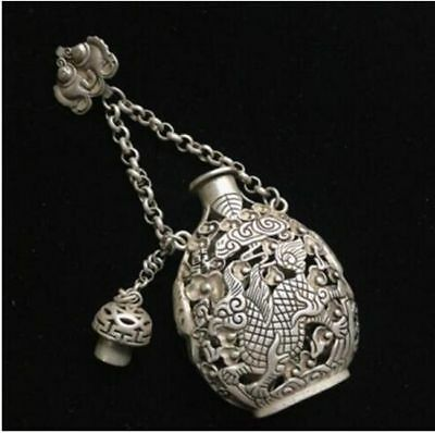 Exquisite tibetan style Old Copper Handmade Carved Hollow-out Unicorn Sachet