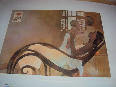 """Bart Forbes art print """" Mother & Child """"    Female Lady Woman Baby"""