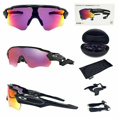 b81a6d9357 New Oakley Radar Pace Sunglasses OO9333-01 Black Shield Frame Prizm Road  Lenses