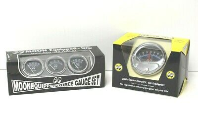 MOONEYES Half-sweep Tachometer & Equipped 3 Gauge Set HOT RODS RATRODS MOON