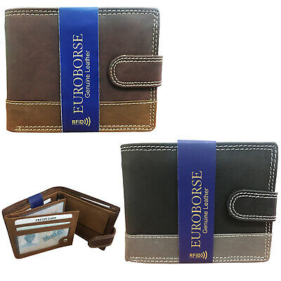 RFID 2 Tone Mens wallets Luxury Soft Card Holder Coin Pocket Id Card Slot Purse