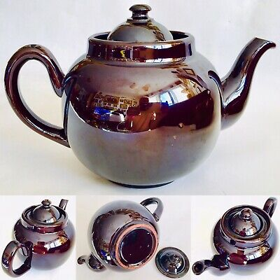 "Very Large Rare Original Antique Victorian ""Brown Betty"" Treacle Glazed Teapot"