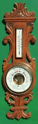 English Antique Victorian Hand Carved Mahogany Banjo Porcelain Dial Barometer