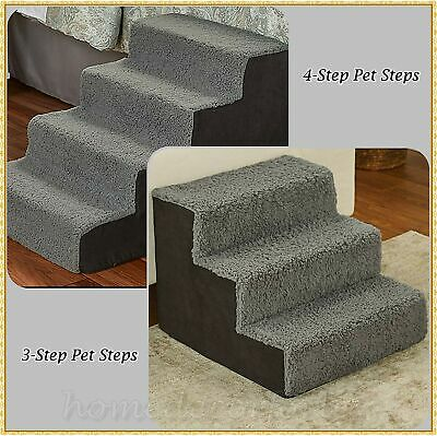 Sherpa Covered Pet Steps Stool Stairs Soft Portable Small Pets Dogs Cats BLACK