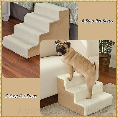 Sherpa Covered Pet Steps Stool Stairs Soft Portable Small Pets Dogs Cats CAMEL