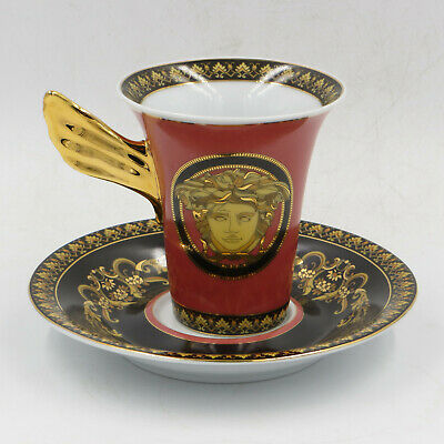 Versace Rosenthal Red Medusa Coffee / Tea / Espresso Cup with Saucer