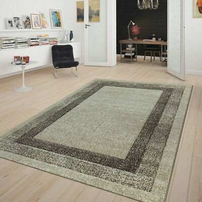 Modern Rug Contemporary Bordered Classic Carpet Small XL Large Soft Mats Beige