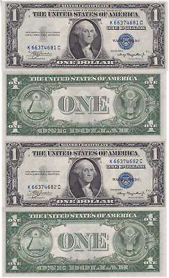1935 A 2 Consecutive $1 Silver Certificates K-C Block Fr 1608 Uncirculated