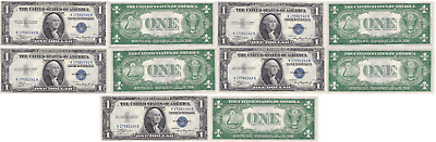 1935 A 5 Consecutive $1 Silver Certificates K-B Block Fr 1608 Uncirculated