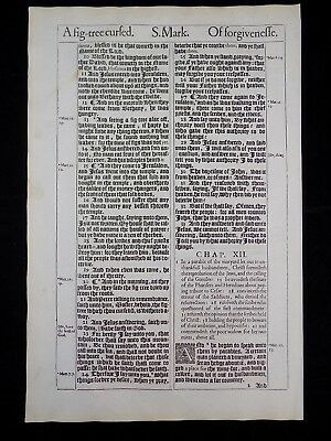 1611 King James Bible Leaf Page *book Of Mark 10:34-12:1 *christ's Cup * Vg