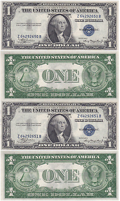 1935 A 2 Consecutive $1 Silver Certificates Z-B Block Fr 1608 Uncirculated