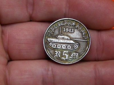 1943 - 5 Reichsmark German Fuhrer Panther Army Tank Wwii Commemorative Coin
