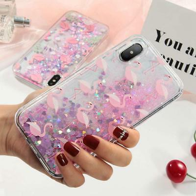 For iPhone7/8Plus Fashion Pink Flamingo Quickstand Glitter Stars Soft Phone Case