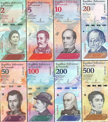 Venezuela FULL Set 8 PCS 2 - 500 Bolivares Unc. Uncirculated.2018y.