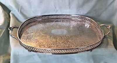 Exquisite Silver plated Rectangular  Handled and Footed Galleried Tray- E.P.B