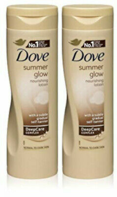 Dove Summer Glow Self Tan Moisturiser Body Lotion Dark Fair Medium X2 TWIN PACK