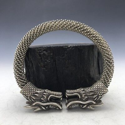 China's Old Tibet silver Copper Handmade twist-style creative Dragon Bracelet RT