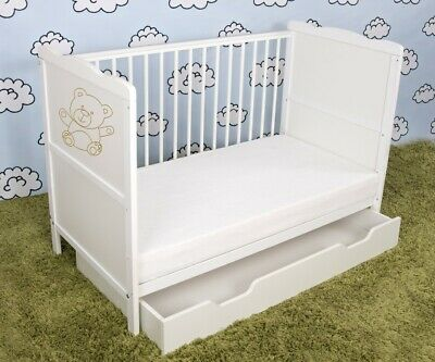 New White Wodden Baby Cot Bed / mattress / teething rails / drawer - RRP £149