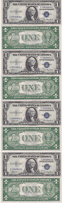 1935 A 4 Consecutive $1 Silver Certificates S-C Block Fr 1608 Uncirculated