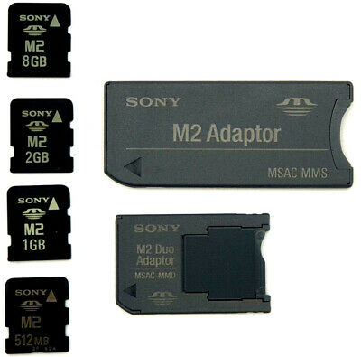 Genuine SONY M2 Memory Cards with MSAC-MMS Card Reader & Pro Duo Adapter