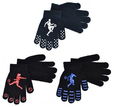 Kids FOOTBALL Thermal Magic Winter GLOVES Stretch Soft Boys Black Childrens Grip