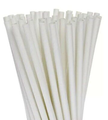PAPER STRAWS Individual Wrapped Wide (8mm x 254mm) White Strong 5000 Bulk