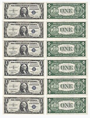 1935 C 6 Consecutive $1 Silver Certificates N-D Block Fr 1612 Uncirculated