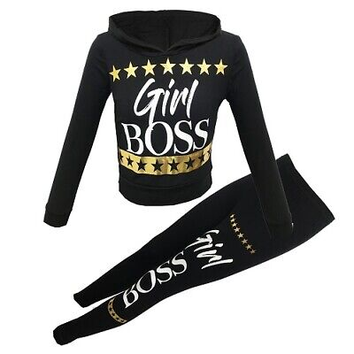 Girls Black Gold Boss Foil Outfit Top Leggings Tracksuit Age 6 7 8 9 10 11 12 13