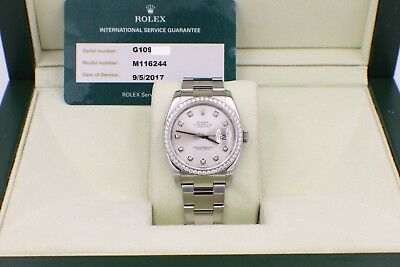 247793a509a Rolex Datejust 116244 Diamond Dial Diamond Bezel Steel Box   Service Papers