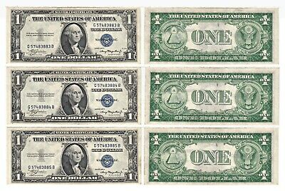 1935 A 3 Consecutive $1 Silver Certificates G-B Block Fr 1608 Uncirculated