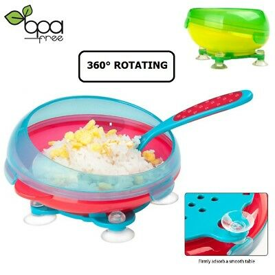 Anti-Slip Baby Bowl With Suction Spill-Proof 360° Rotate Leak-Proof Dinnerware