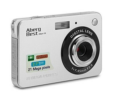 Cámara Digital Compacta AbergBest 2.7 LCD Recargable HD, Color Plata