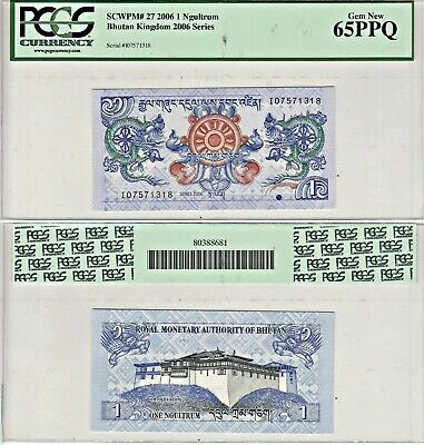 2006 Bhutan Kingdom 1 Ngultrum Pick 27a PCGS 65PPQ