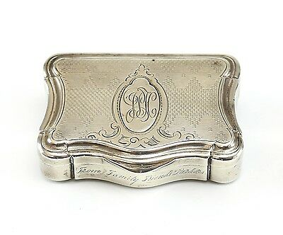 18th-19th Century Continental Silver Finely Engraved Trinket Box Wt 68.98 Grams