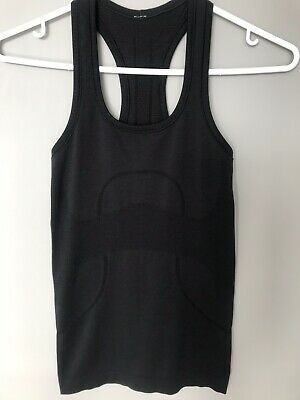 4203f2b9196a1 LULULEMON SWIFTLY TECH Racerback Tank Capri Black Heathered Size 2 ...