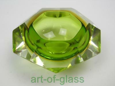 Vintage Murano sommerso green & yellow  'geode' glass bowl retro 1960s 1970s