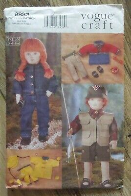"""Vogue Craft 9833 Linda Carr Sewing Pattern 18"""" Doll Clothes"""