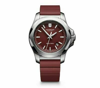 New Victorinox INOX Red Dial Stainless Steel Rubber Band Men's Watch 241719.1