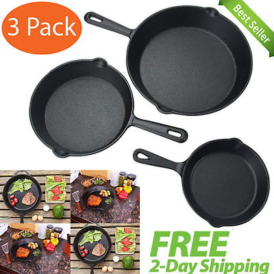 Pre-Seasoned Cast Iron Skillet 3 Pack Set Stove Oven Fry Pans Pots Cookware Pan
