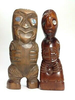Pair of Vintage Wooden Hand Carved Wooden Tikis