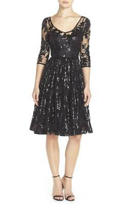 4358eab9 TRACY REESE SEQUIN Lace Fit & Flare Dress Black NWT 2 10 - $138.33 ...