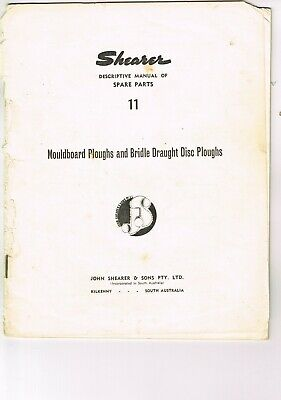 Vintage farming manual SHEARER  mouldboard and disc ploughs, parts catalogue