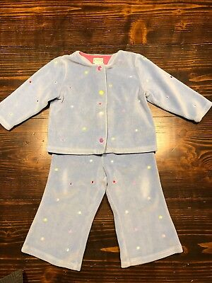 Talbots Kids Toddler Girls Velour Blue Polka Dot Sweatpants Set 18 Month