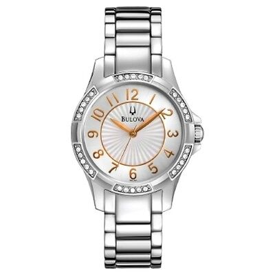 Bulova Dress Mop Dial Crystals Accent Stainless Steel Women's Watch 96L161 New