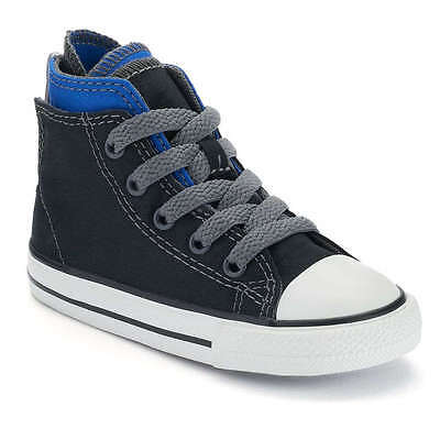 6a62833e5f67 Converse Toddler Boy s All Star Black Blue Zip-Back High-Top Sneakers -