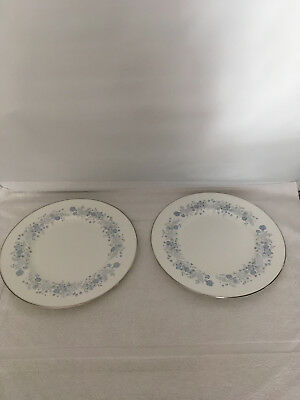 "Set 2 Wedgwood Bone China BELLE FLEUR Dinner Plates 10 3/4"" England Platinum"